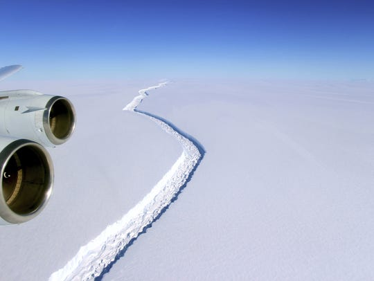 A November 2016 aerial NASA photo shows a split in the Antarctic Peninsula's Larsen C ice shelf.
