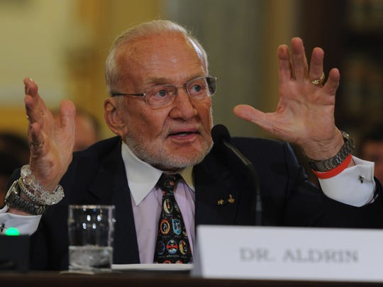 Former astronaut Buzz Aldrin testifies before the Senate