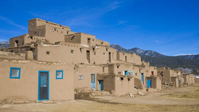 Exterior of the Hlauuma (north house) adobe buildings in Taos Pueblo in Taos, New Mexico.