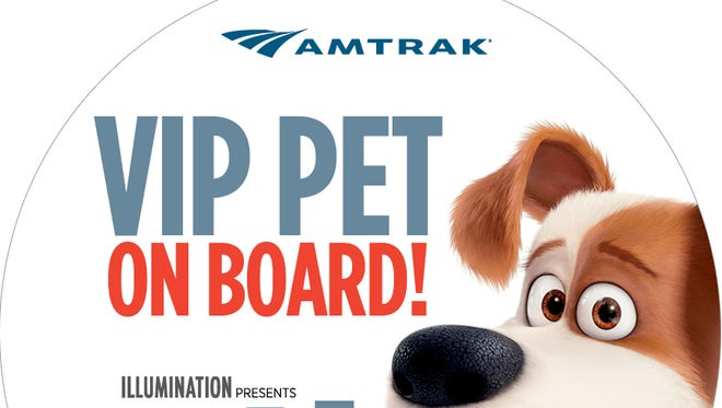Pets will be able to ride on Amtrak for free in a limited time promotion to celebrate the DVD release of the hit movie 'The Secret Life of Pets.'
