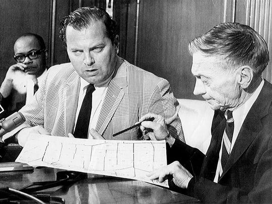 """Mayor Jerome Cavanagh, left, and his police commissioner, Ray Girardin, in 1967. Discussing how the riot affected him as mayor, Cavanagh said: """"I was sure of myself, got praised, and now I can't guarantee anything."""""""