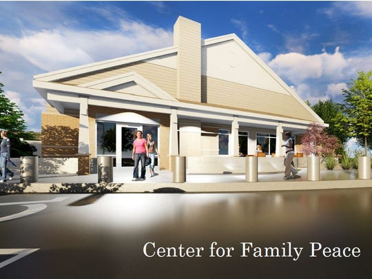 A rendering shows what the new public entrance for Anna Marie's Alliance will look like. It will be named the Center for Family Peace and the nonprofit hopes it will be completed by October 2018.