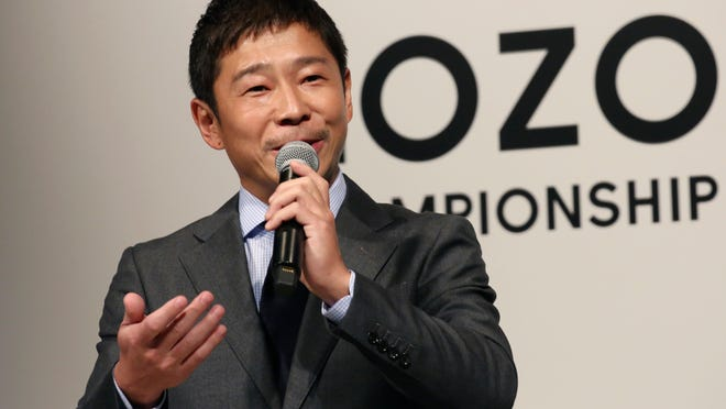 ZOZO Inc. President Yusaku Maezawa speaks during a press conference on the PGA Tour in Tokyo, Tuesday, Nov. 20, 2018.