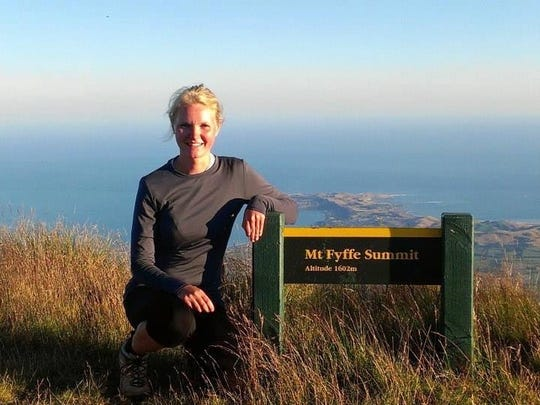 Lindsay Mouw of Sioux Center is shown in New Zealand, where she was awakened to conservation during college study trip.