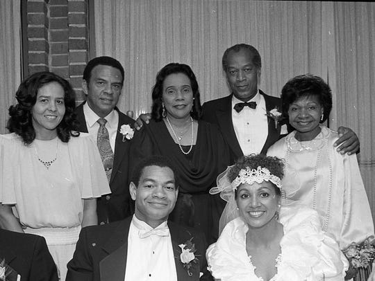 Jean Childs Young, left, Andrew Young, Coretta Scott