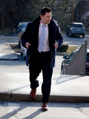 Thomas Clayton enters the Steuben County courthouse Feb. 22 ahead of the start of jury deliberations.