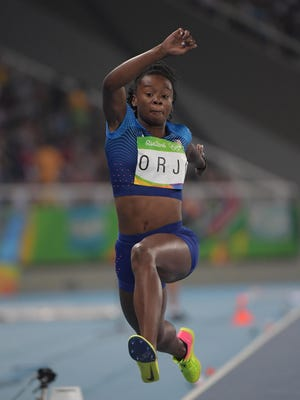 Keturah Orji of Mount Olive begins a jump in the women's triple jump final on Sunday in the Summer Olympic Games at Estadio Olimpico Joao Havelange, Rio de Janeiro.