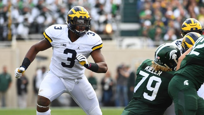 Oct 29, 2016; East Lansing, MI, USA; Michigan Wolverines defensive end Rashan Gary plays against Michigan State at Spartan Stadium.