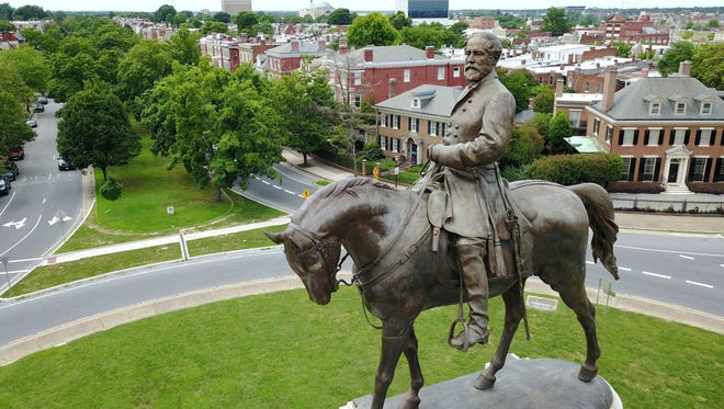 A statue of Robert E. Lee in Richmond, Va.