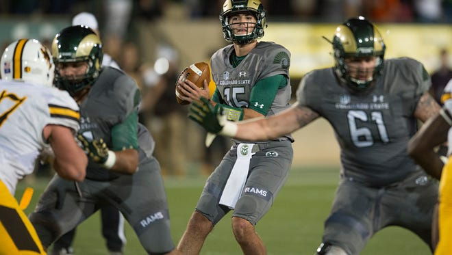 CSU quarterback Collin Hill threw for 370 yards Saturday night in the Rams' 38-17 loss to Wyoming at Hughes Stadium.