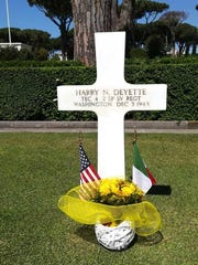 T/4 Harry N. Deyette's grave marker is in Plot H, Row 15, Grave 9 in the Sicily/Rome American Cemetery and Memorial. This photo was taken May 19, 2018. Harry had flowers for Memorial Day 2018. A friend of Gianni Blasi took this photo.