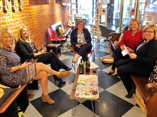 Go Red Wrap-Up – The committee the collects the handbags for the Go Red event, lovingly called The Pursenalities, met last week downtown at River Kitty Café and Wine Bar for a wrap up meeting and a celebration of a job well done.  In the photo from left are Angie Schaffstein, Lindsay Botsch, Vicki Simmons, Penny Goshert and Sarah Bryan.