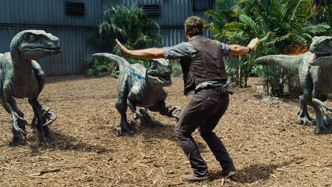 Owen (Chris Pratt) attempts to keep the raptors at bay in a scene from 'Jurassic World.'