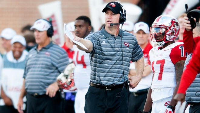 Sep 26, 2015; Bowling Green, KY, USA; Western Kentucky Hilltoppers head coach Jeff Brohm looks on from the sidelines during the second half against Miami (Oh) Redhawks at Houchens Industries-L.T. Smith Stadium. Western Kentucky won 56-14. Mandatory Credit: Joshua Lindsey-USA TODAY Sports