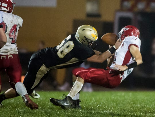 Delone Catholic's Zach Schussler sacks Bermudian Springs'
