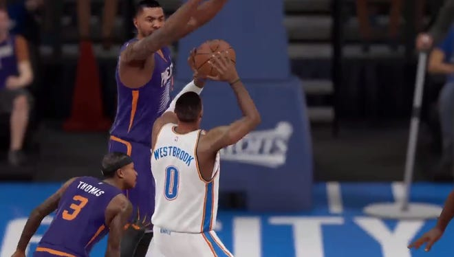 Russell Westbrook gets lucky basket in glitch.