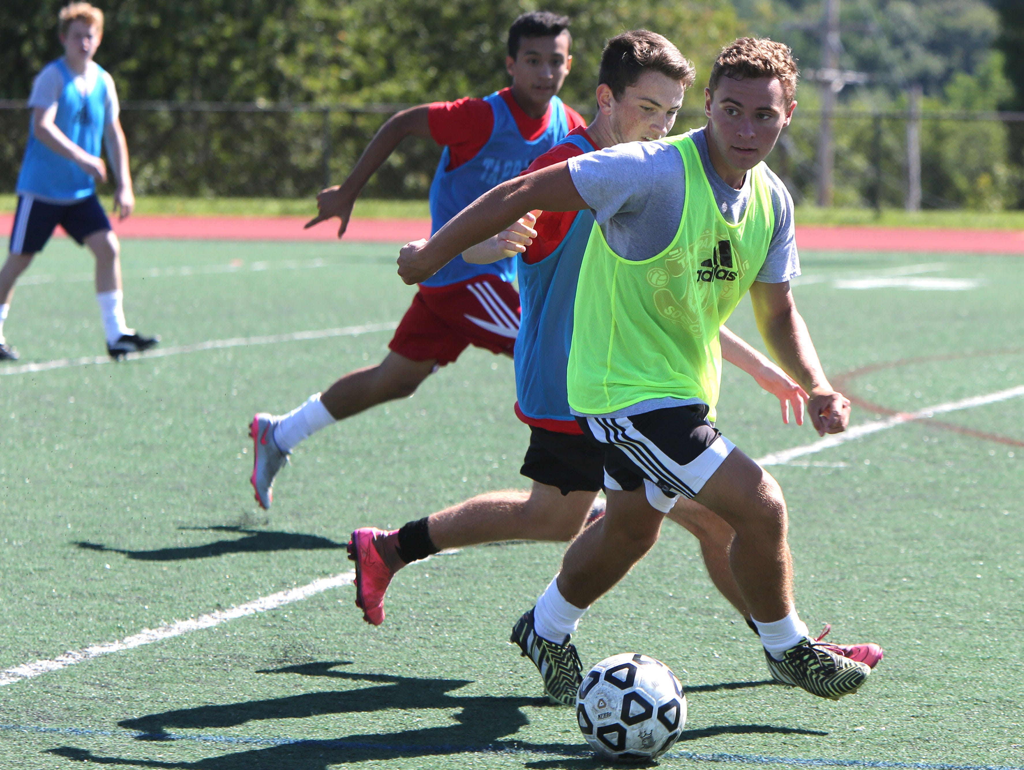Tappan Zee junior Joe Stahl during the first day of soccer practice at Tappan Zee High School Aug. 22, 2016.