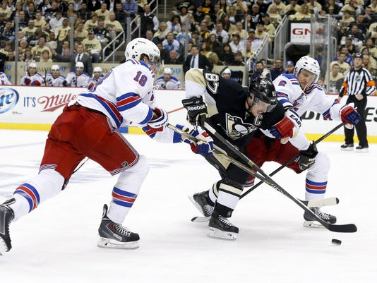 Rangers Penguins Staal Crosby Stralman Game 1 2014 playoffs