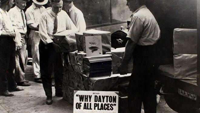 Promotional information about the Scopes Monkey Trials in Dayton Tennessee was unloaded from a truck during the trial.