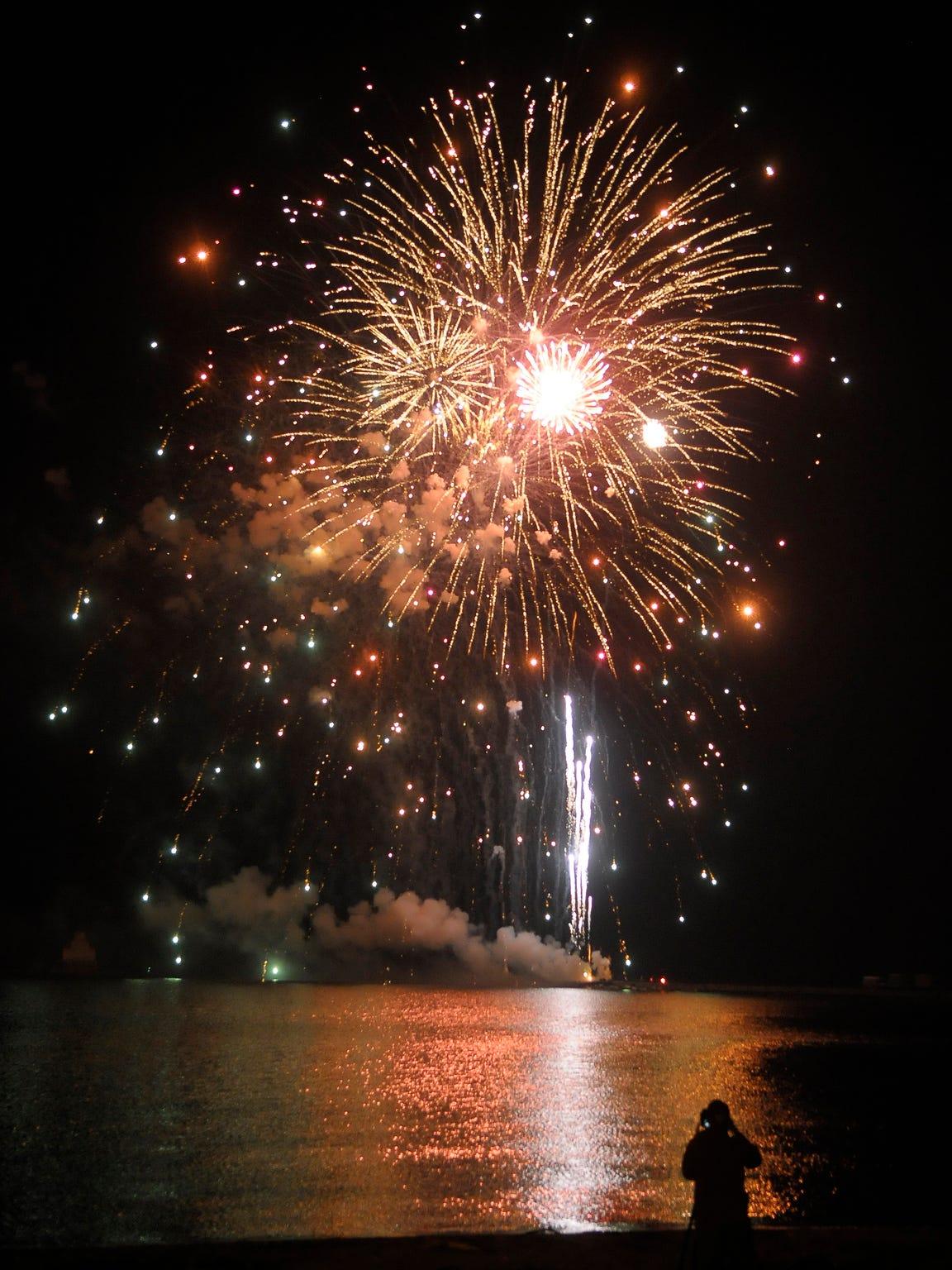 Fourth of July fireworks near the Lake Michigan shoreline