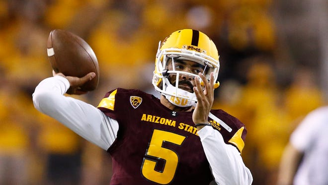 Arizona State quarterback Manny Wilkins warms up prior to an NCAA college football game against San Diego State Saturday, Sept. 9, 2017, in Tempe, Ariz.