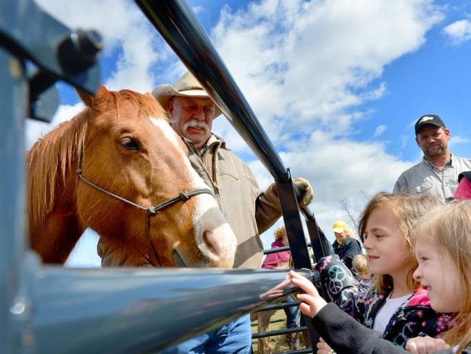 Joel Wilson of Swoope watches as children take turns petting his horse, Princess, during Food For America at Buffalo Gap High School on Tuesday, April 8, 2014.