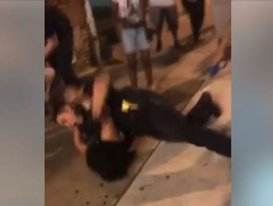 Melissa Dyan Penn scuffles with York City police officer