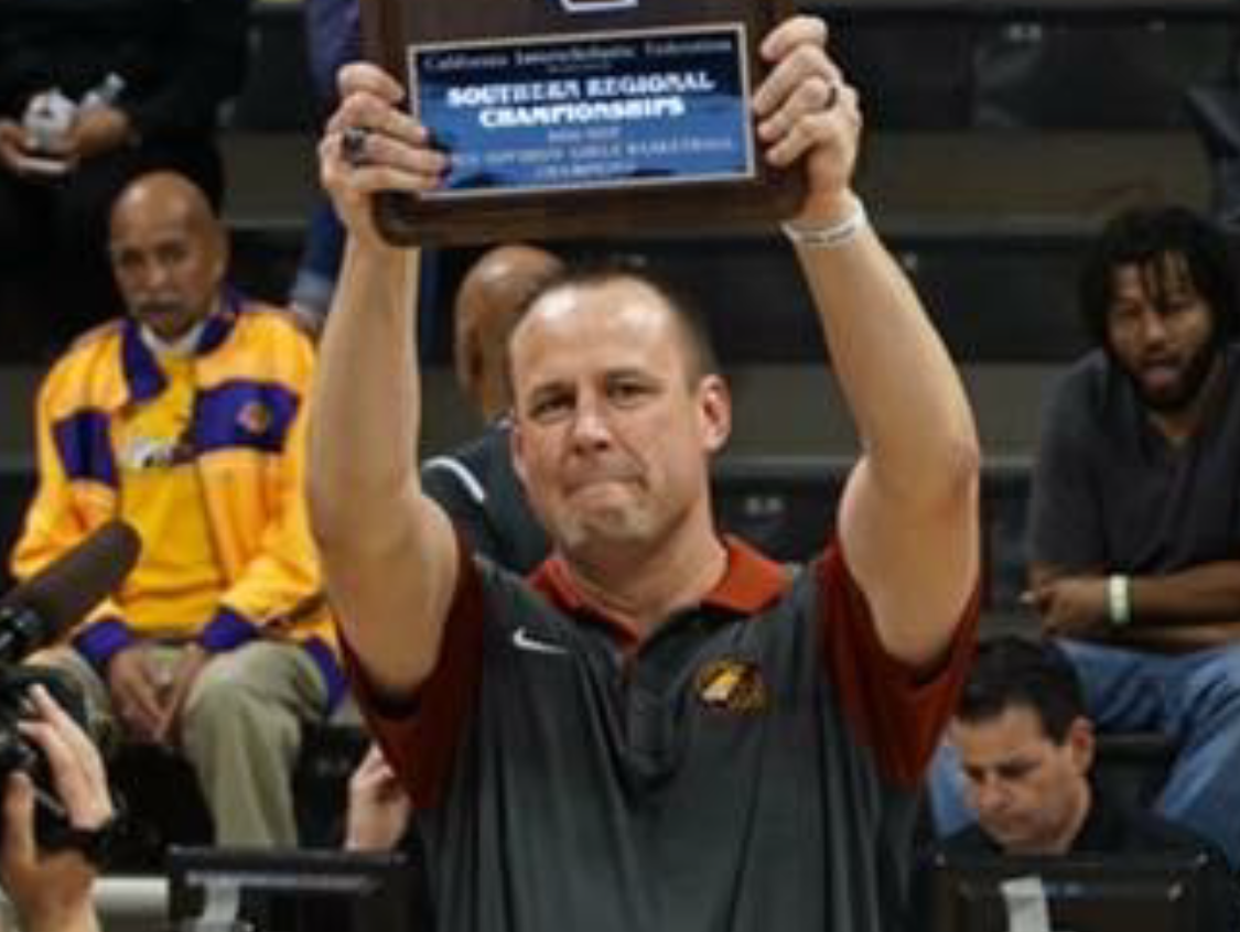 Former Reno coach Craig Campbell, now at Clovis West, after winning the Southern California Regional girls basketball championship last Saturday.