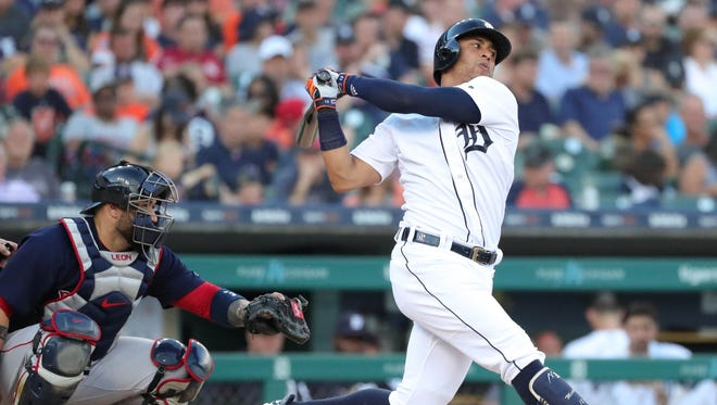 Detroit Tigers center fielder Leonys Martin bats against the Boston Red Sox David Price during third-inning action Friday, July 20, 2018, at Comerica Park in Detroit, Mich.