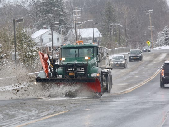 4:30 p.m. A plow in Monsey, Rockland County.
