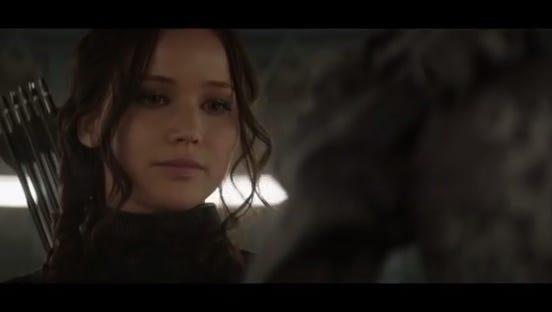 """Jennifer Lawrence is back as Katniss Everdeen in """"Mockingjay -- Part 1."""""""