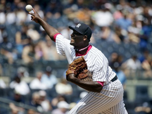 New York Yankees starting pitcher Michael Pineda throws during the first inning Sunday against the Baltimore Orioles at Yankee Stadium in New York. Pineda struck out 16 in a 6-2 Yankees victory.