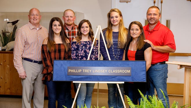 Attending the dedication of the Phillip Trey Lindsey Classroom on Oct. 7 at UT Martin were (l to r) Dr. Keith Carver, university chancellor; Andrea Lindsey, wife of Will Lindsey; Will Lindsey; sister, Taylor Lindsey; Quanah Allen, Trey's girlfriend; and parents, Lisa and John Lindsey.