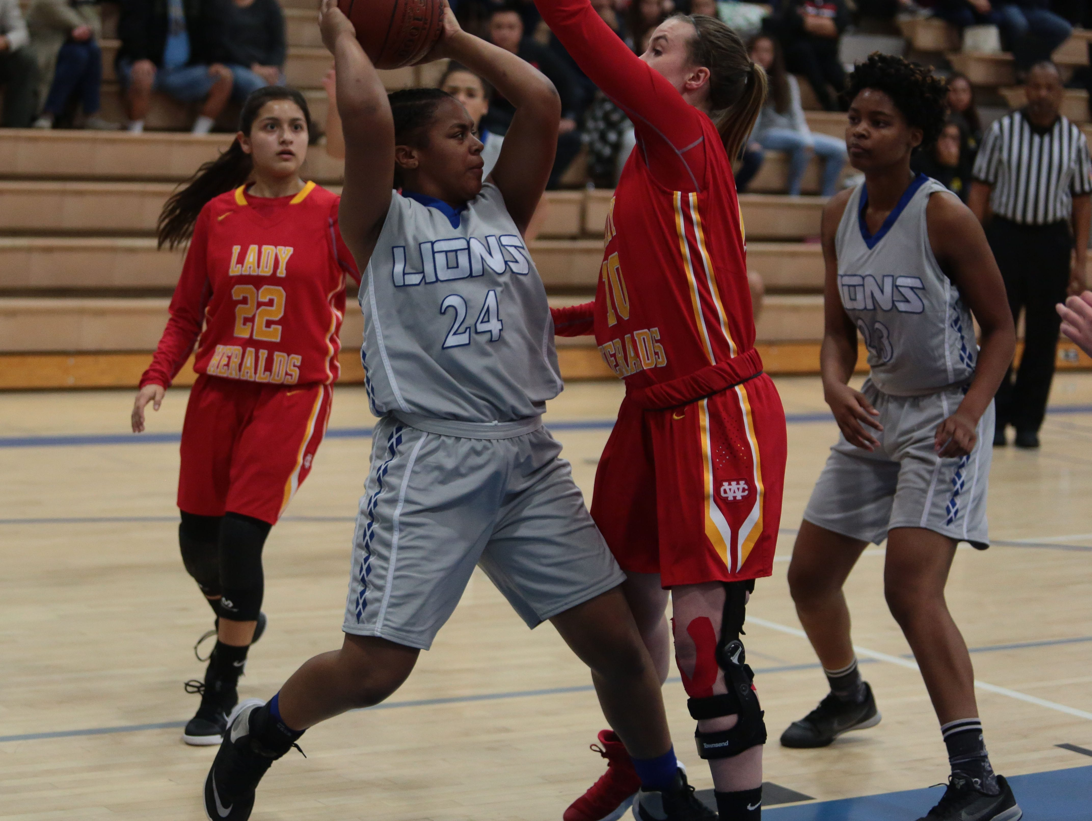 Cathedral City's Maijoy Wooten in action against Whittier Christian on Saturday, February 18, 2017 in Cathedral City.