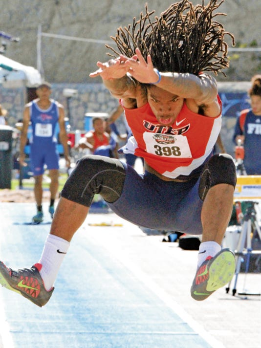 Rudy Gutierrez—El Paso Times UTEP's Brandon Moss goes airborne over the sand during the men's long jump competition at the CUSA Track and Field Championships Saturday at Kidd Field.