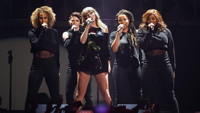 Taylor Swift, center, will perform Sept. 15, 2018, at Lucas Oil Stadium.