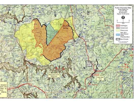 A boundary map of the Snake Ridge Fire. Officials said