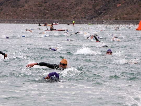 Ironman 70.3 St. George participants compete in the