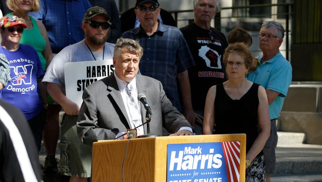 Winnebago County Executive Mark Harris announced his candidacy for the 18th Senate District Sept. 16, 2015, on the steps of the Winnebago County Courthouse.