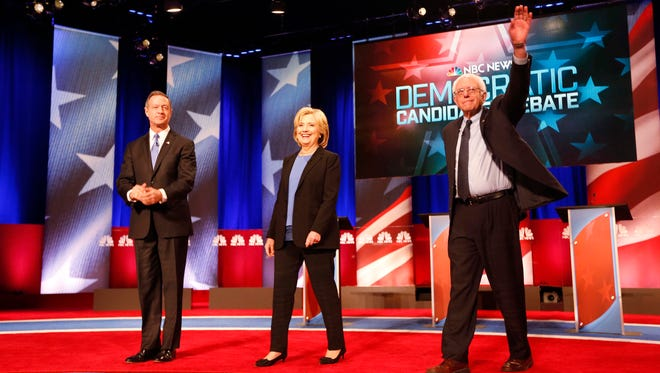 The Democratic presidential candidates appear on stage on Jan. 17, 2016, in Charleston, S.C.
