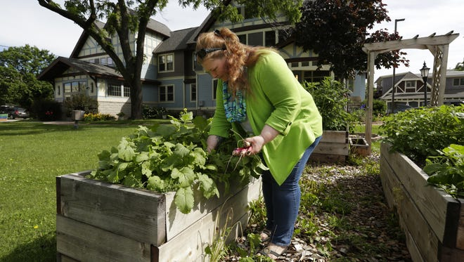 Paula Kimpton, House Manager at Christine Ann Domestic Abuse Services, Inc., weeds in the garden and harvests radishes that are ready to be picked in their box gardens. Christine Ann's facility is in need of major repairs to an air conditioning unit that is not cooling, a sump pump pipe that burst inside the elevator shaft, a rotting carriage house sill plate and a lead pipe under the playground that has been replaced. All repairs are costly and they are in need of donations to work on some of the projects.