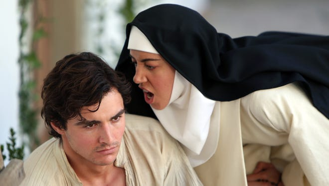 "Fernanda (Aubrey Plaza) lets Massetto (Dave Franco) hear how she feels in ""The Little Hours."""