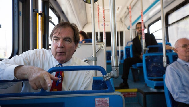 Greg Smith, city councilor for District Two, riding a bus around downtown talking about public transit in Las Cruces, Thursday June 21, 2018 for a short ride to celebrate the free fare day.