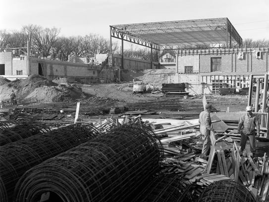 Halenbeck Hall as it appeared when it was under construction.