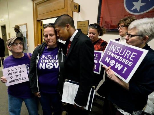 Protesters push for the passage of Insure Tennessee at the state legislature in a file photo from April 2016. Insure Tennessee, proposed by then-Gov. Bill Haslam, would have expanded TennCare insurance similarly to Medicaid expansion programs adopted in neighboring states.