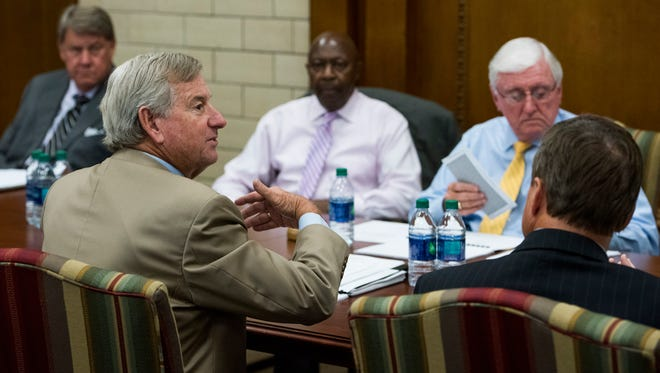 Montgomery Mayor Todd Strange speaks as the city council holds a work session on the city budget at city hall in Montgomery, Ala., on Wednesday August 30, 2017.