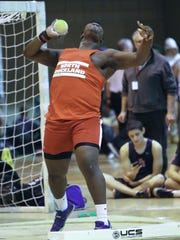 North Rockland's Hervens Mulatre competes in the shot