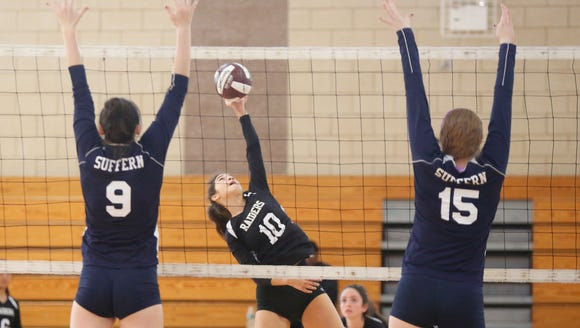 Suffern takes on Scarsdale  during the Scarsdale volleyball