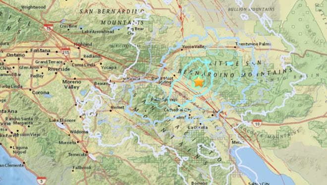 A 4.4-magnitude earthquake rocked the Coachella Valley and nearby areas Tuesday evening.