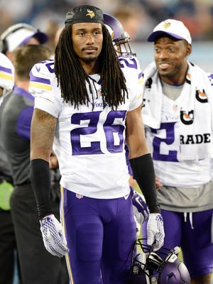 Minnesota Vikings cornerback Trae Waynes watches from the sideline against the Tennessee Titans Thursday on Sept. 3, 2015.